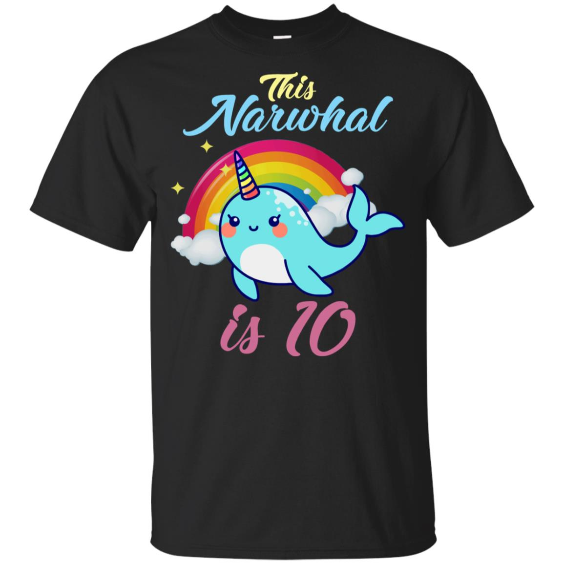 This Narwhal Is 10 Year Old 10th Birthda Youth Short Sleeve