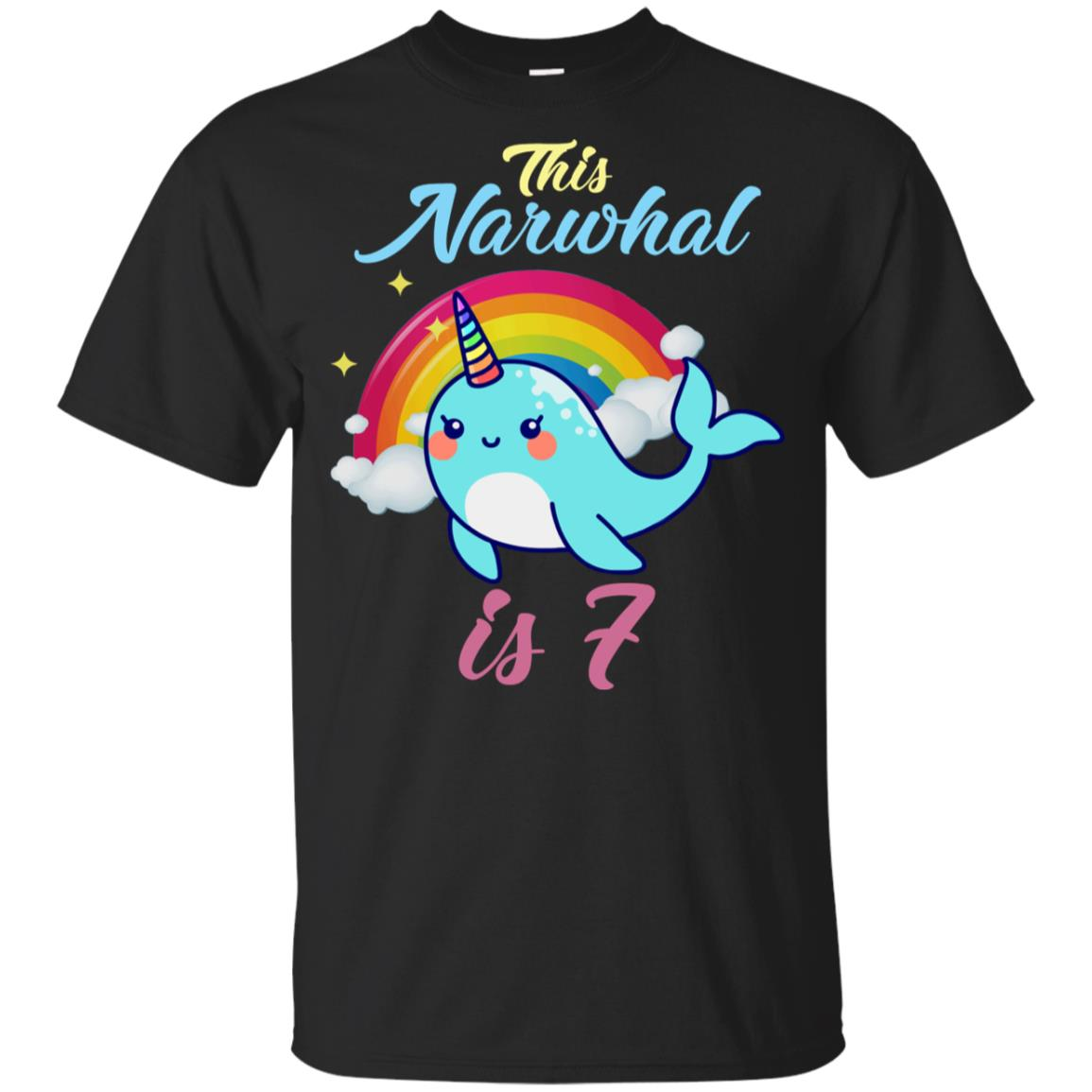 This Narwhal Is 7 Year Old 7th Birthday Youth Short Sleeve
