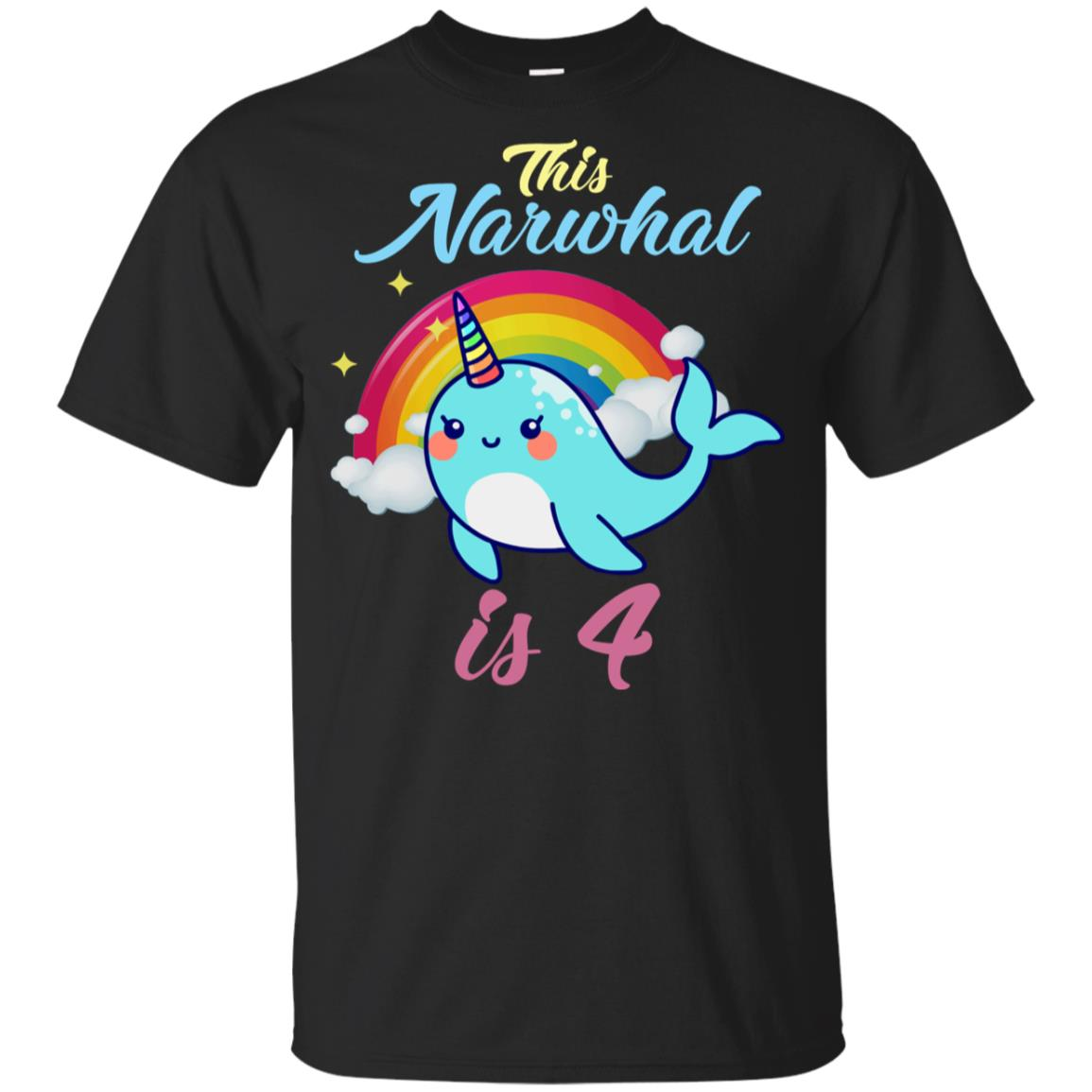 This Narwhal Is 4 Year Old 4th Birthday Youth Short Sleeve