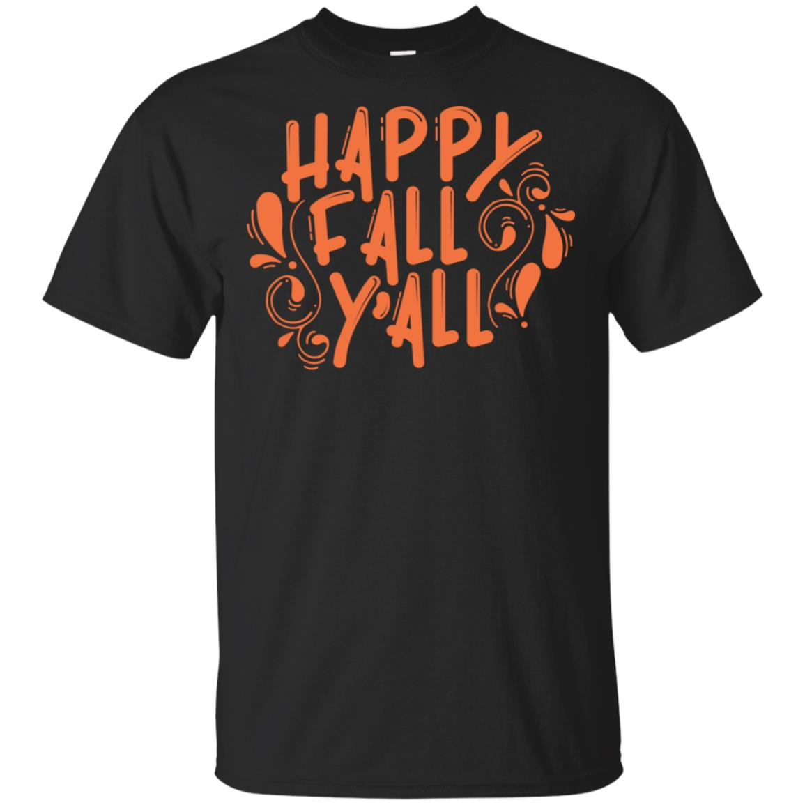 Happy Fall Y'all Womens Autumn Seasonal Holiday Unisex Short Sleeve