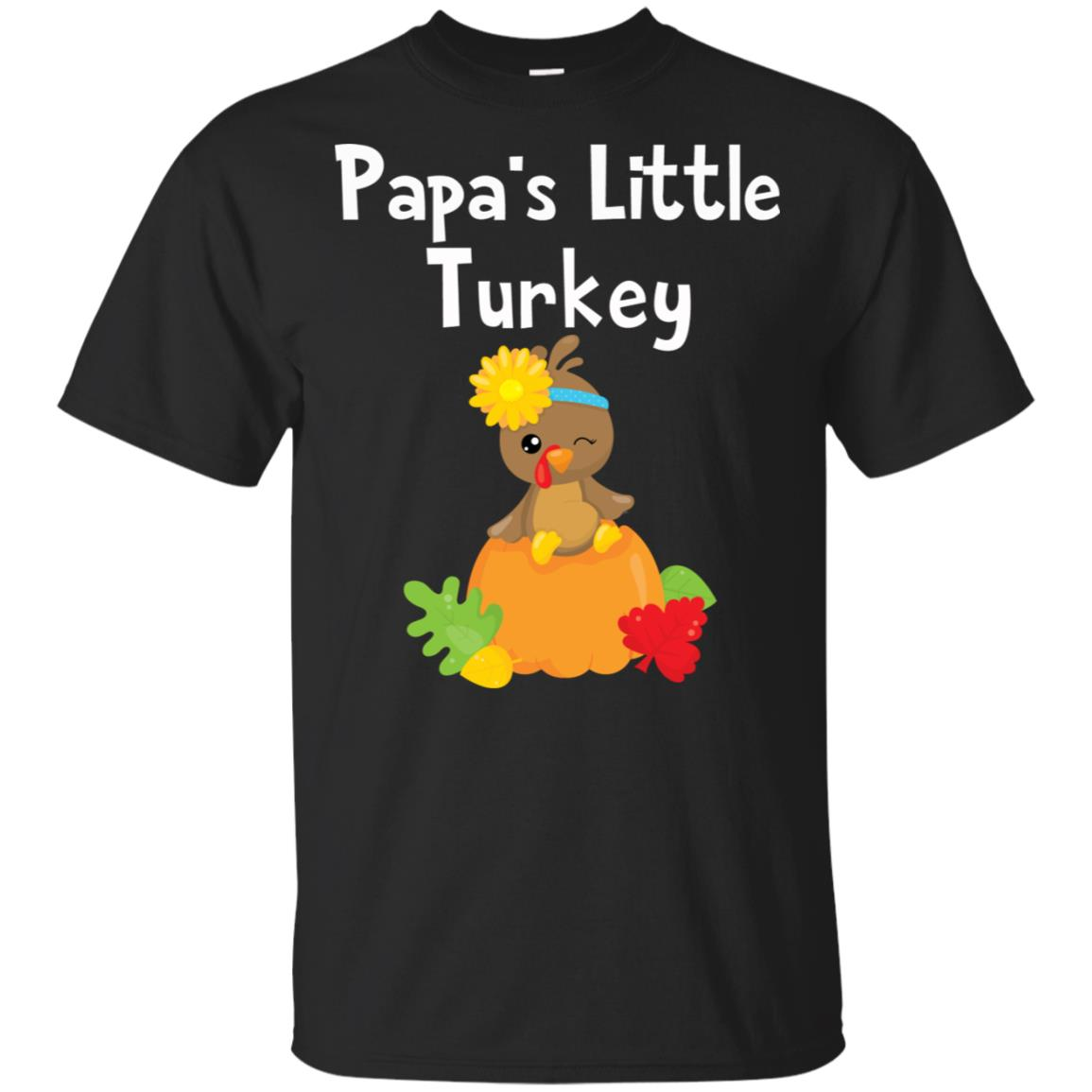 Thanksgiving Papa's Little Turkey Cute Fall Tee Unisex Short Sleeve