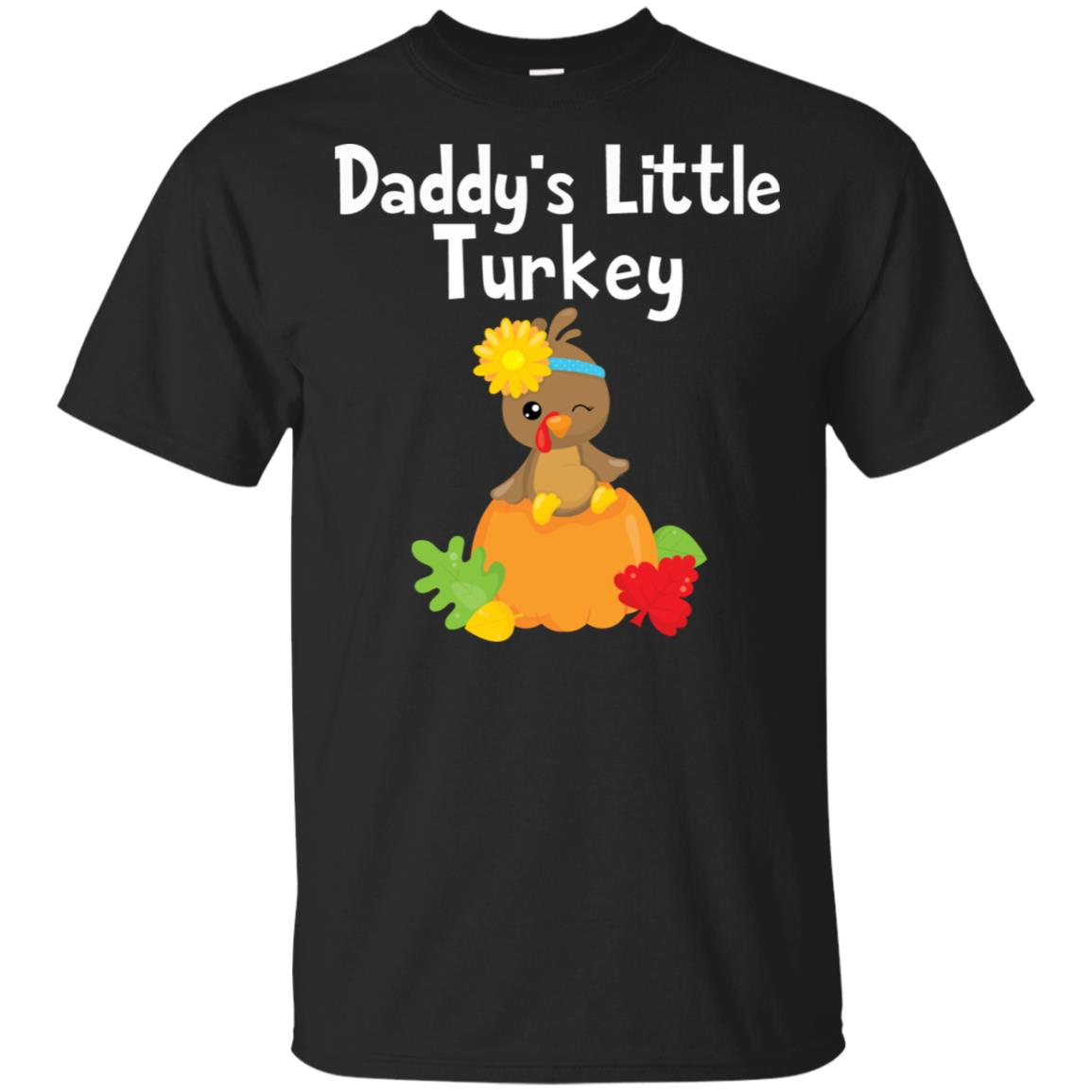 Thanksgiving Daddy's Little Turkey Cute Fall Tee Unisex Short Sleeve