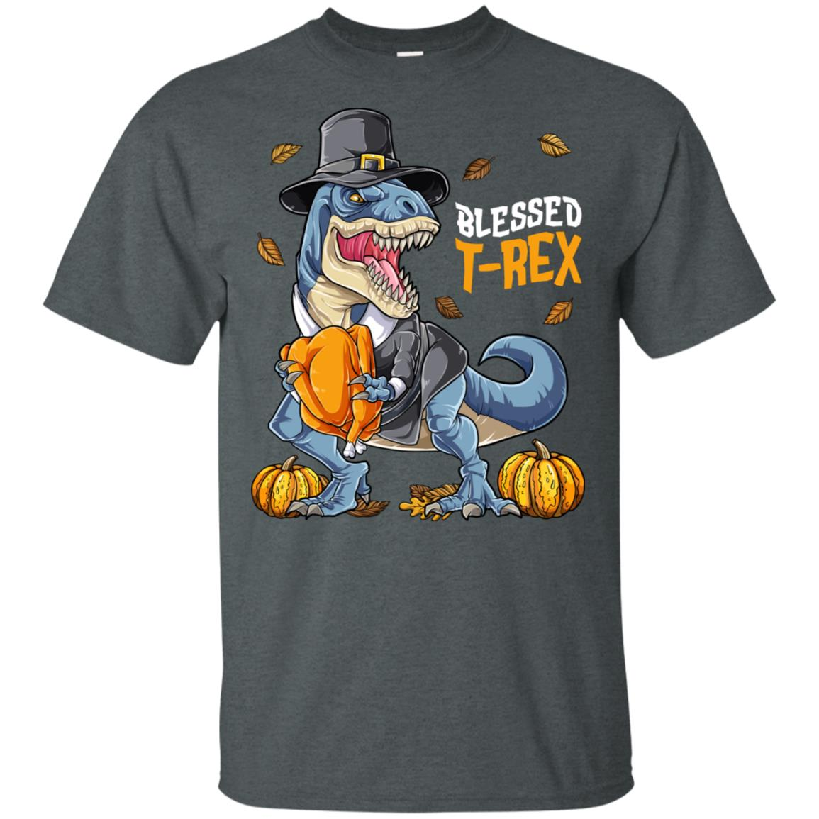 Thanksgivings Dinosaur T rex Pilgrim Turkey Pumpkin-1 Unisex Short Sleeve