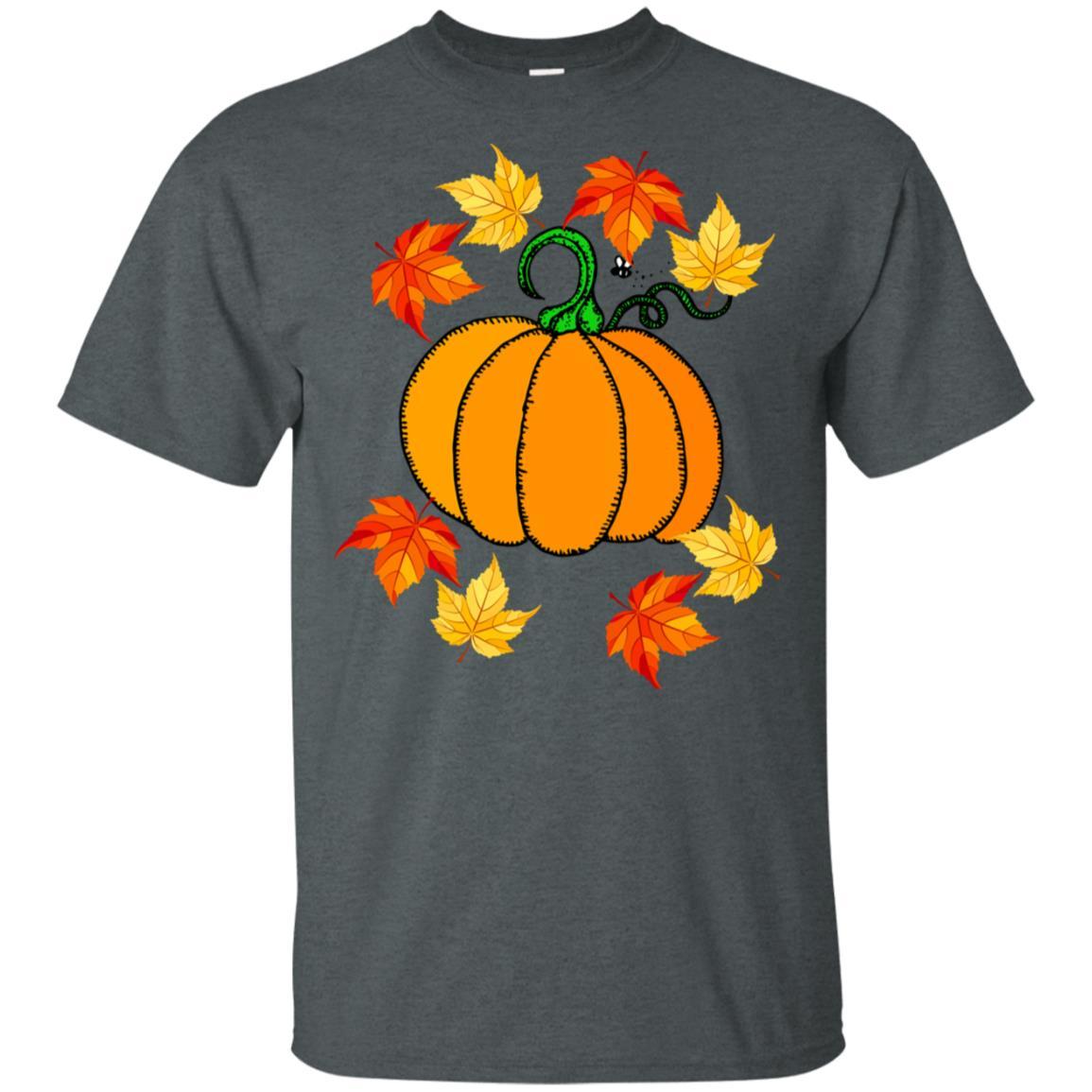 Pumpkin & Fall Leaves for Men & Women Unisex Short Sleeve
