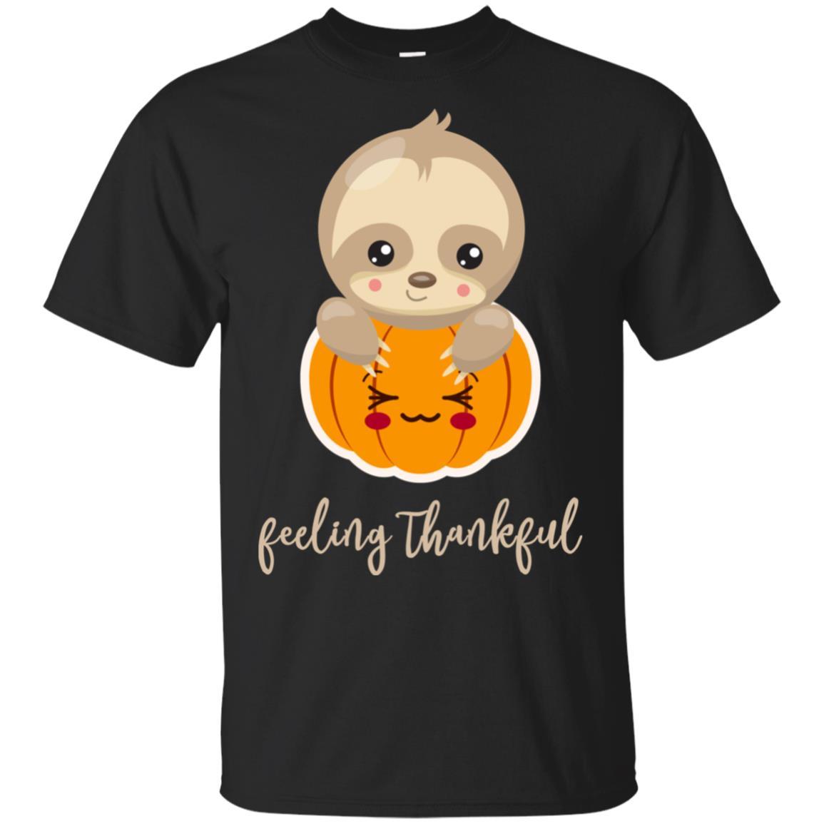 Sloth Feeling Thankful Cute Thanksgiving Gift Tee Unisex Short Sleeve