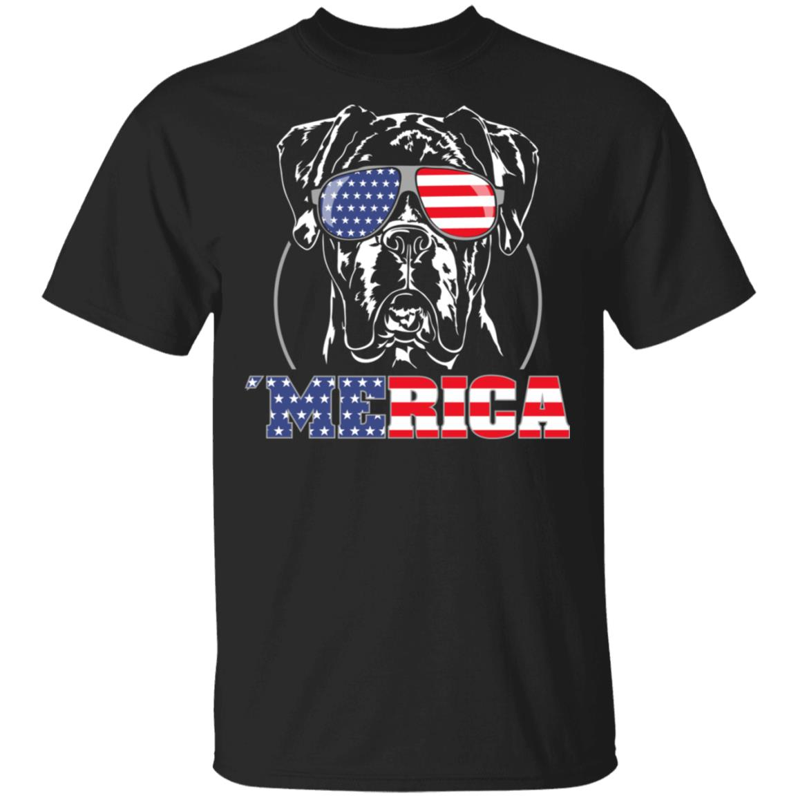 Proud Boxer dog Merica American Flag Unisex Short Sleeve