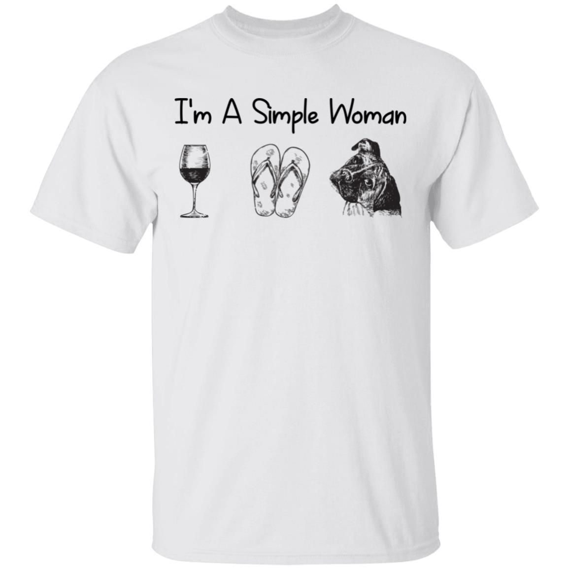 I'm A Simple Woman Wine Flip Flops Boxer Dog Lover Unisex Short Sleeve