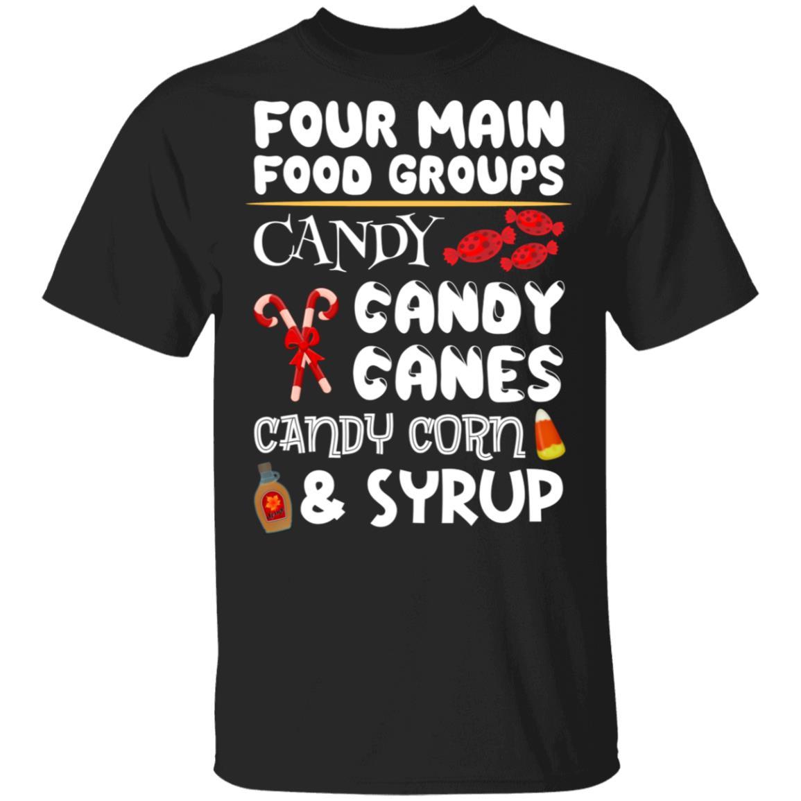 Christmas Elf's 4 Main Food Groups Funny Unisex Short Sleeve