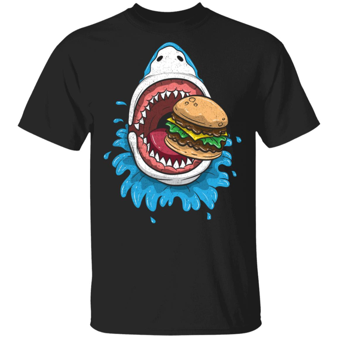 Halloween Shark Eating Burger Costume Food Unisex Short Sleeve