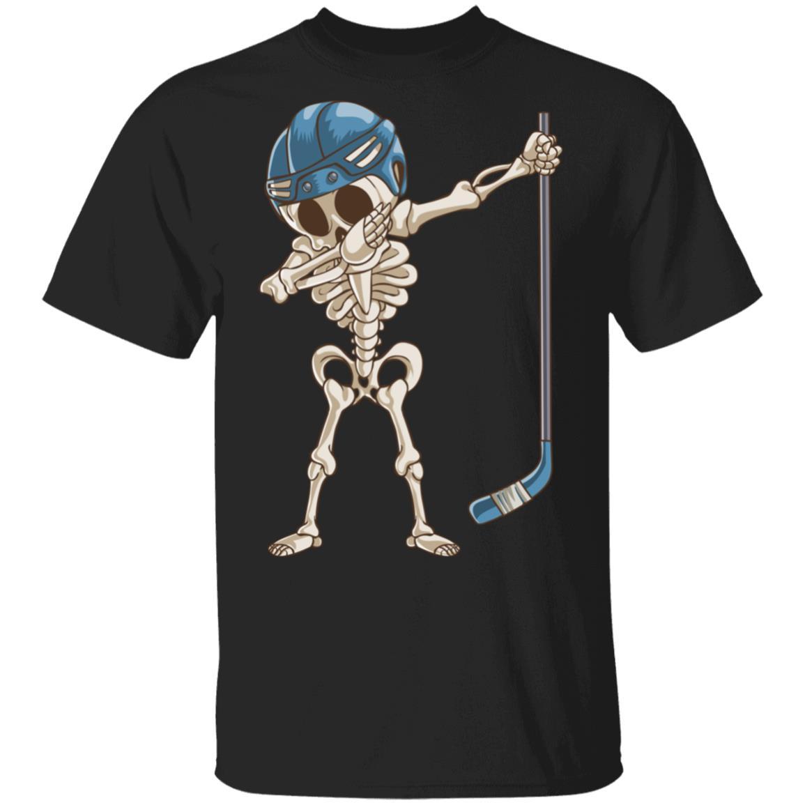 Dabbing Skeleton Hockey Halloween Gift Unisex Short Sleeve